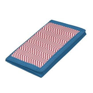 USA Flag Red & White Wavy ZigZag Chevron Stripes Tri-fold Wallets