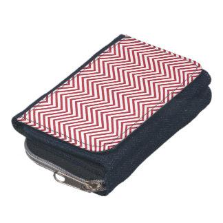 USA Flag Red & White Wavy ZigZag Chevron Stripes Wallets