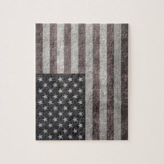 USA Flag, Vintage Retro American Flag On Canvas Jigsaw Puzzle