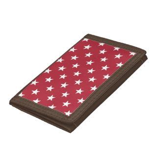 USA Flag White Stars on Flag Red Tri-fold Wallet