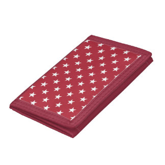 USA Flag White Stars on Flag Red Tri-fold Wallets