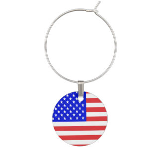 USA Flag Wine Glass Charm