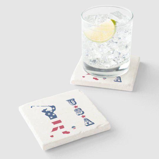 USA golf America flag golfer Stone Coaster