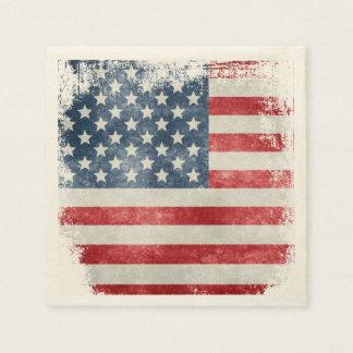 USA Grunge American Flag Paper Napkins