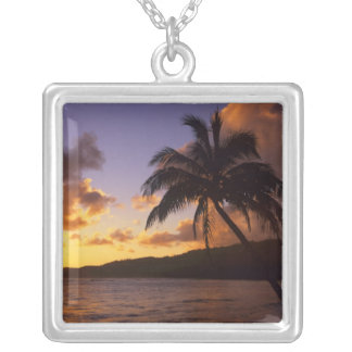 USA, Hawaii, Kauai, Colorful sunrise in a 2 Silver Plated Necklace
