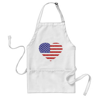 USA Heart Flag Stars & Stripes in Crayon Style Standard Apron