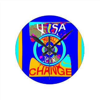 USA Hillary Change Pattern Art design Round Clock