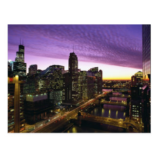USA, IL, Chicago. Chicago skyline and river Postcard