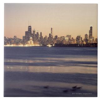 USA, Illinois, Chicago, Skyline at sunset Tile