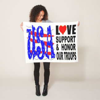 USA Love Support And Honor Our Troops Fleece Blanket