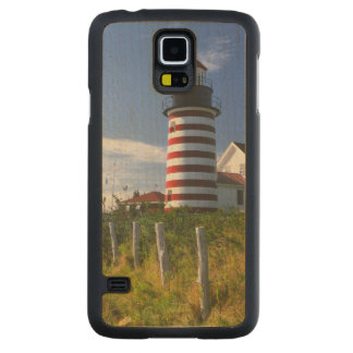 USA, Maine, Lubec. West Quoddy Head Lighthouse Carved Maple Galaxy S5 Case
