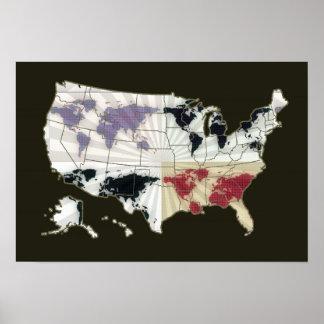 usa map . world-map poster