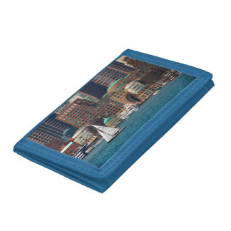 USA, Massachusetts. Boston Waterfront Skyline 2 Tri-fold Wallets