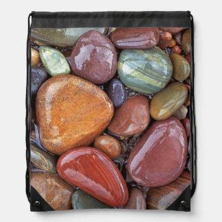 USA, Montana, Clark Fork River, Stones 2 Drawstring Bag