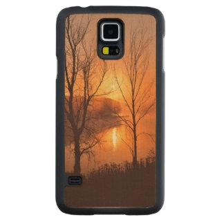 USA, New England, Maine. Autumn Sunrise Carved Maple Galaxy S5 Case
