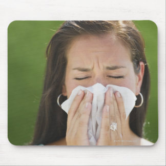 USA, New Jersey, Jersey City, Woman blowing nose Mouse Pad