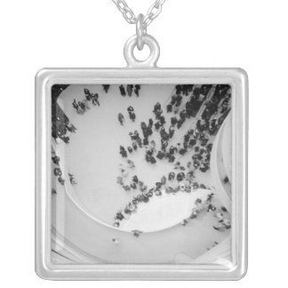 USA, New York, New York City: The Guggenheim 4 Silver Plated Necklace