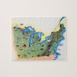 USA, Northern States of America, map with Jigsaw Puzzle