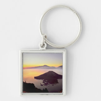 USA, Oregon, Crater Lake National Park 3 Silver-Colored Square Key Ring