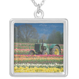 USA, Oregon, Woodburn, Wooden Shoe Tulip 2 Silver Plated Necklace