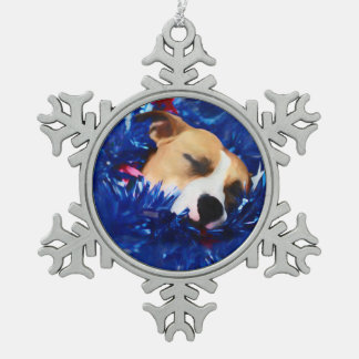 USA Patriotic Dog American Pit Bull Terrier Pewter Snowflake Decoration