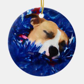 USA Patriotic Dog American Pit Bull Terrier Round Ceramic Decoration