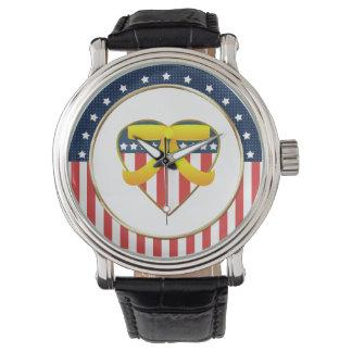 USA Patriotic Heart Yellow Ribbon Watch