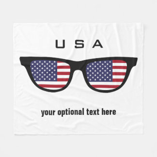 USA Shades custom text & color fleece blankets