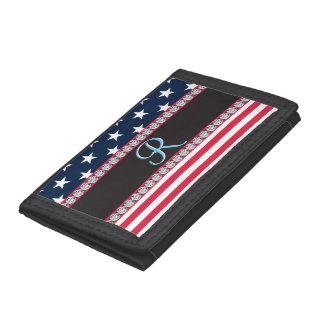 USA Stars and Stripes Diamond 3d Monogram Initial Tri-fold Wallets