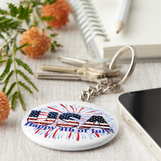 USA text flag glitters fireworks Happy 4th of July Key Ring