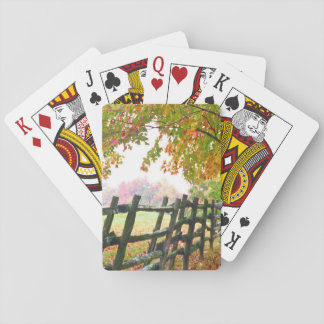 USA, Vermont. Fence under fall foliage. Playing Cards