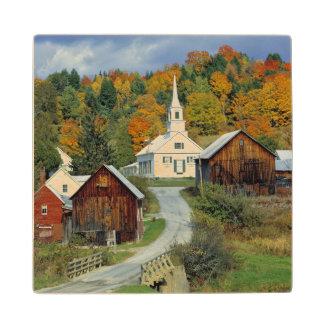 USA, Vermont, Waits River. Fall foliage adds Wood Coaster