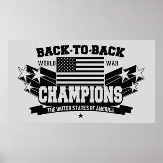 USA World War Champions Black & White Poster