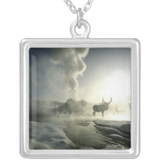 USA, Wyoming, Yellowstone National Park. Sunrise Silver Plated Necklace