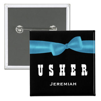 USHER Wedding Custom Name V02R BLUE 15 Cm Square Badge