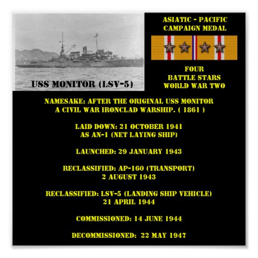 USS MONITOR (LSV-5) POSTER