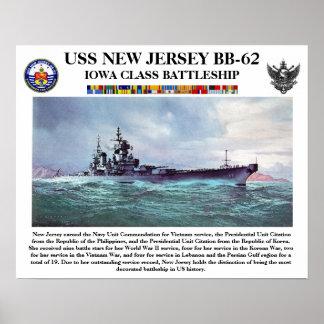 USS New Jersey BB-62 Poster