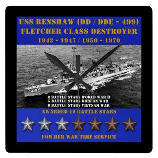 USS Renshaw (DD-499) Square Wall Clocks