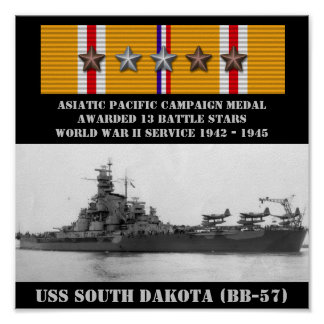 USS SOUTH DAKOTA (BB-57) POSTER