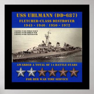 USS Uhlmann (DD-687) Poster