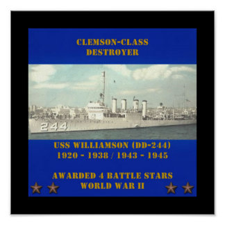 USS WILLIAMSON (DD-244 ) POSTERS