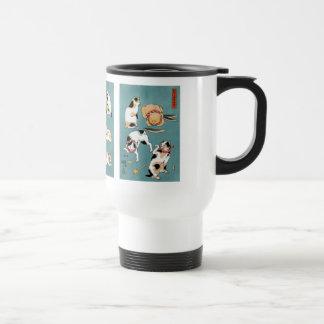 Utagawa Kuniyoshi and Fifteen cats in different Stainless Steel Travel Mug
