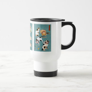 Utagawa Kuniyoshi and Fifteen cats in different Travel Mug