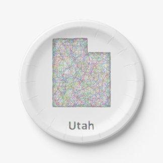 Utah map paper plate