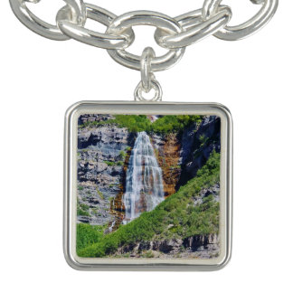 Utah Waterfall #1B - Charm Bracelet - Square