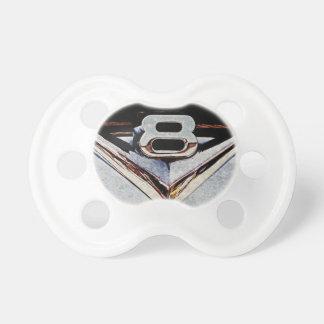 V8 Power Chrome Emblem on Hotrod Baby Pacifiers