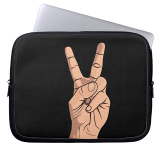 V For Victory / Peace Sign Hand Sign Gesture Computer Sleeve