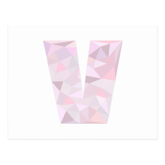 V - Low Poly Triangles - Neutral Pink Purple Gray Postcard
