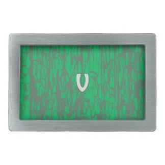 V on Green Belt Rectangular Belt Buckles