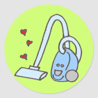 Vacuum Cleaner with Hearts Classic Round Sticker